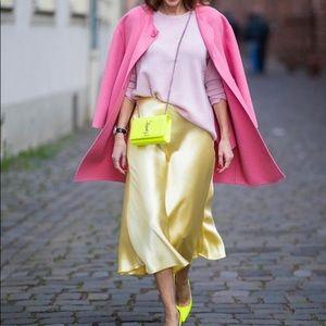 Zara silky yellow hi low skirt bloggers favorite